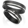 Bild von Ring Titan-Carbon gefasste Diamanten 0,015 CT pro Stein W/Si / Damenring Gr. 50-62